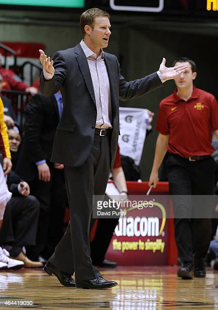 Head coach Fred Hoiberg of the Iowa State Cyclones argues a call in the first half of play against the Baylor Bears at Hilton Coliseum on February 25...