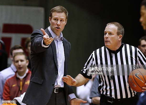 Head coach Fred Hoiberg of the Iowa State Cyclones argues a call with the referee in the first half of play against the West Virginia Mountaineers at...