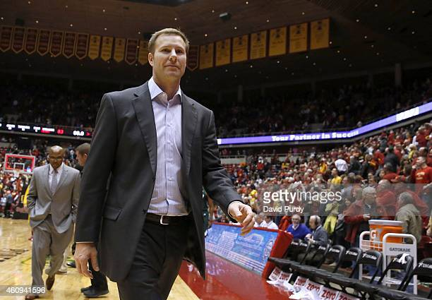 Head coach Fred Hoiberg of the Iowa State Cyclones leaves the court after defeating Mississippi Valley State Delta Devils 8333 at Hilton Coliseum on...
