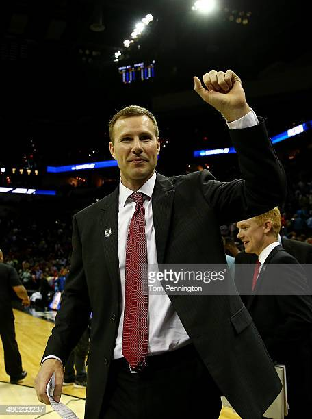 Head coach Fred Hoiberg of the Iowa State Cyclones reacts after defeating the North Carolina Tar Heels 8583 in the third round of the 2014 NCAA Men's...