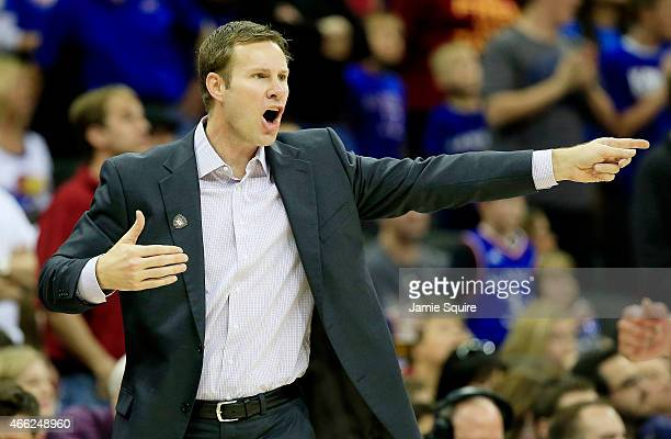 Head coach Fred Hoiberg of the Iowa State Cyclones reacts in the first half against the Kansas Jayhawks during the championship game of the Big 12...