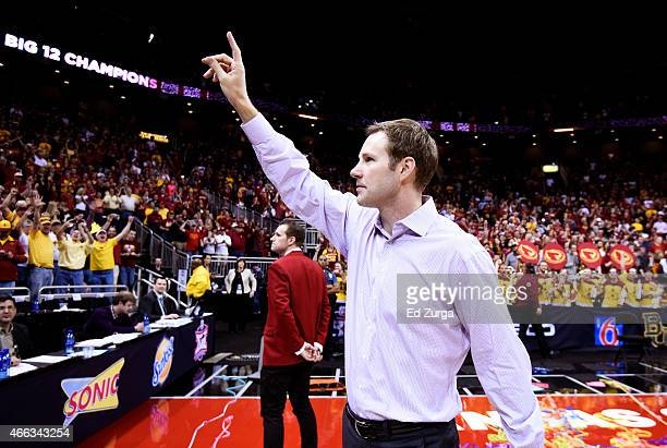 Head coach Fred Hoiberg of the Iowa State Cyclones waves to the crowd after their 70 to 66 win over the Kansas Jayhawks during the championship game...