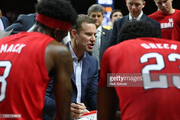 Head coach Fred Hoiberg of the Nebraska Cornhuskers in action against the Rutgers Scarlet Knights during a college basketball game at Rutgers...