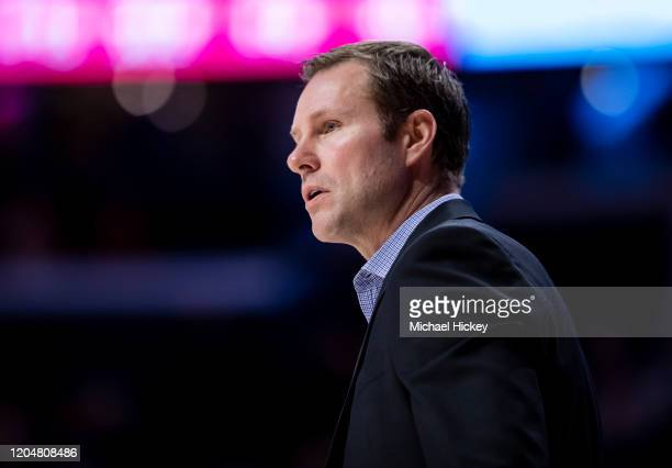 Head coach Fred Hoiberg of the Nebraska Cornhuskers is seen during the game against the Illinois Fighting Illini at State Farm Center on February 24,...