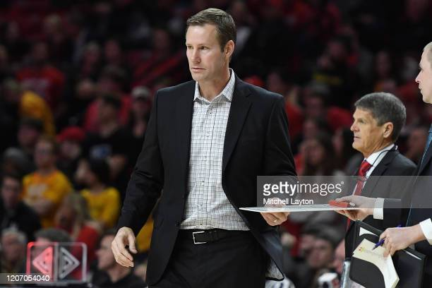 Head coach Fred Hoiberg of the Nebraska Cornhuskers looks on during a college basketball game against the Maryland Terrapins at the Xfinity Center on...