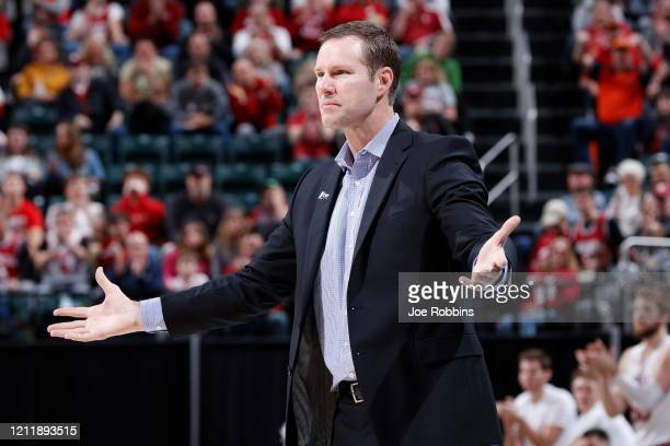 Head coach Fred Hoiberg of the Nebraska Cornhuskers reacts against the Indiana Hoosiers in the second half during the first round of the Big Ten...