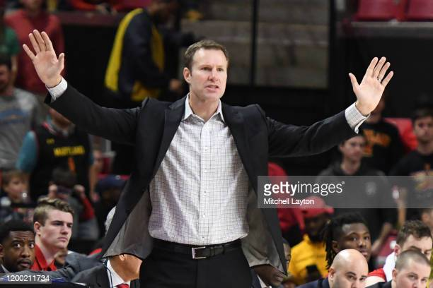Head coach Fred Hoiberg of the Nebraska Cornhuskers signals to his players in the second half during a college basketball game against the Maryland...
