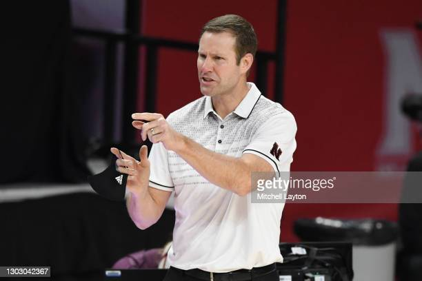 Head coach Fred Hoiberg of the Nebraska Cornhuskers signals to his players during a college basketball game against the Maryland Terrapins at Xfinity...