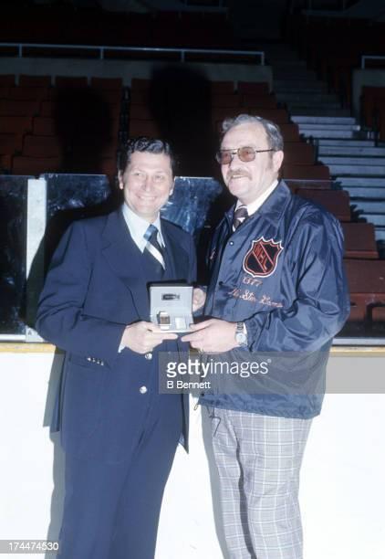 Head coach Fred Shero of the Philadelphia Flyers receives a watch circa 1977 at the Spectrum in Philadelphia Pennsylvania