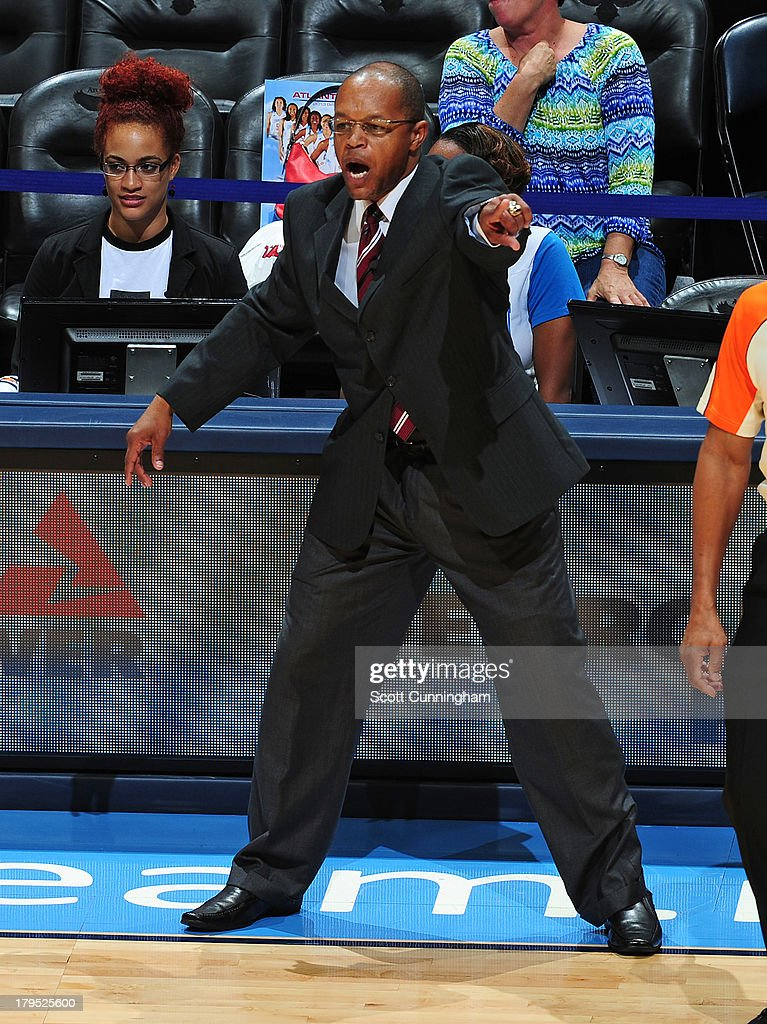 Head Coach Fred Williams of the Atlanta Dream calls a play against the Indiana Fever at Philips Arena on September 4 2013 in Atlanta, Georgia.