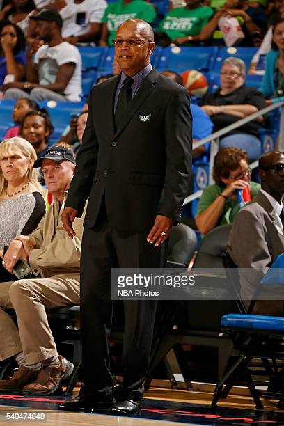Head coach Fred Williams of the Dallas Wings looks on during the game against the Los Angeles Sparks on June 11 2016 at College Park Center in...