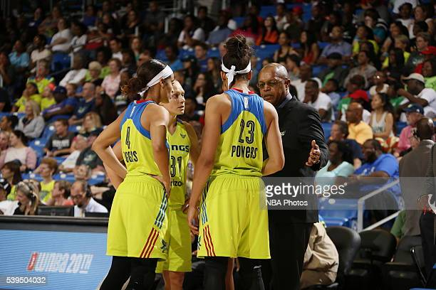 Head Coach Fred Williams of the Dallas Wings talks to his players during the game against the Los Angeles Sparks on June 11 2016 at College Park...