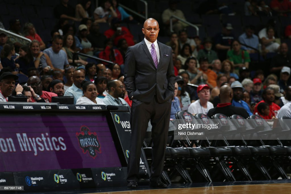 Head coach Fred Williams of the Washington Mystics looks on during a game against the Dallas Wings on June 18, 2017 at the Verizon Center in Washington, DC.