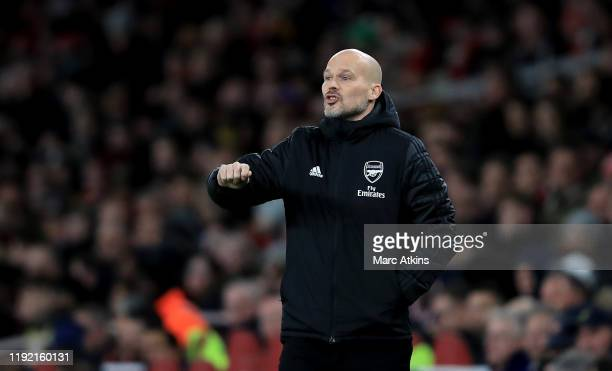 Head coach Freddie Ljungberg of Arsenal reacts during the Premier League match between Arsenal FC and Brighton Hove Albion at Emirates Stadium on...