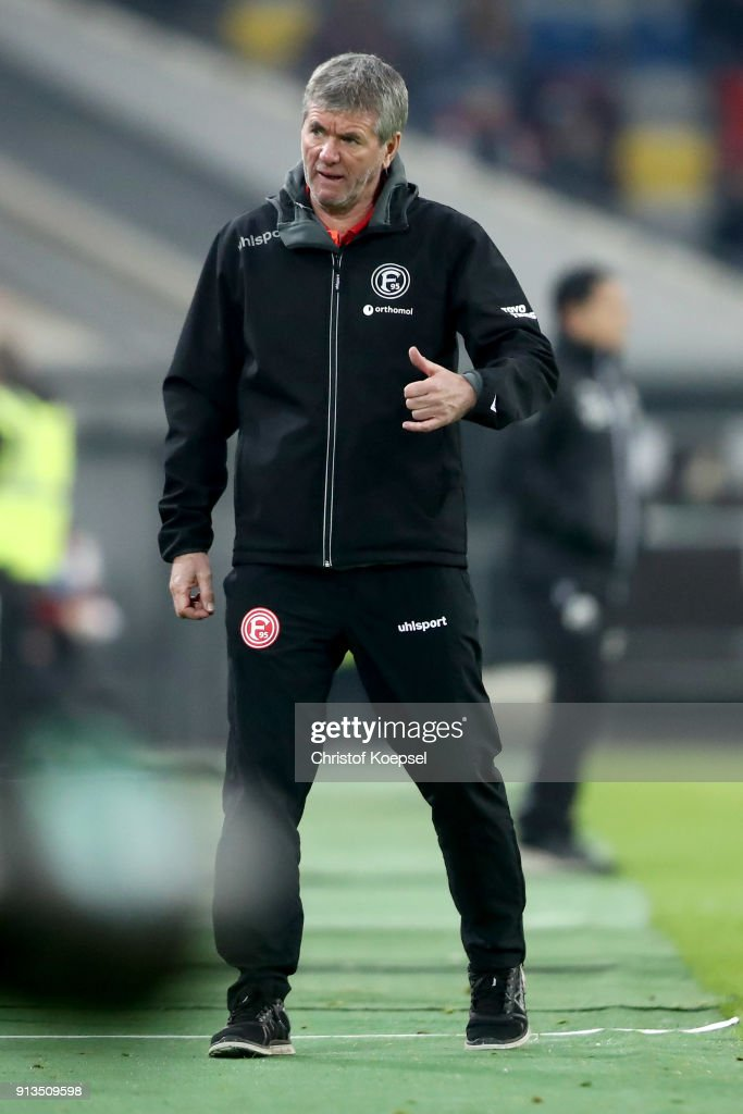 Head coach Friedhelm Funkel of Duesseldorf reacts during the Second Bundesliga match between Fortuna Duesseldorf and SV Sandhausen at Esprit-Arena on February 2, 2018 in Duesseldorf, Germany. The match between Duesseldorf and Sandhausen ended 1-0.