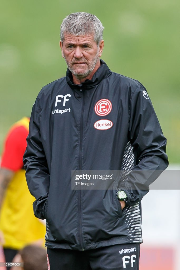 Head coach Friedhelm Funkel of Fortuna Duesseldorf looks on during the Fortuna Duesseldorf training camp on July 23, 2018 in Maria Alm, Austria.