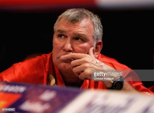 Head coach Fritgz Sdunek of Zsolt Erdei looks on during the WBO Light Heavyweight world championship fight between Zsolt Erdei of Hungary and Paul...