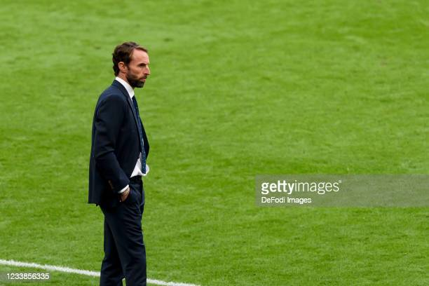 Head coach Gareth Southgate of England looks on during the UEFA Euro 2020 Championship Semi-final match between England and Denmark at Wembley...