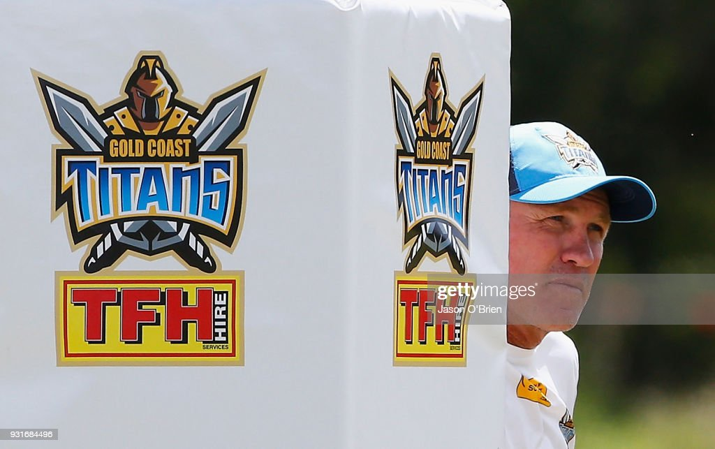Head Coach Garth Brennan looks on during a Gold Coast Titans NRL training session at Parkwood on March 14, 2018 in Gold Coast, Australia.