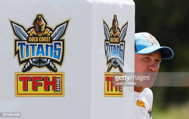 Head Coach Garth Brennan looks on during a Gold Coast Titans NRL training session at Parkwood on March 14 2018 in Gold Coast Australia