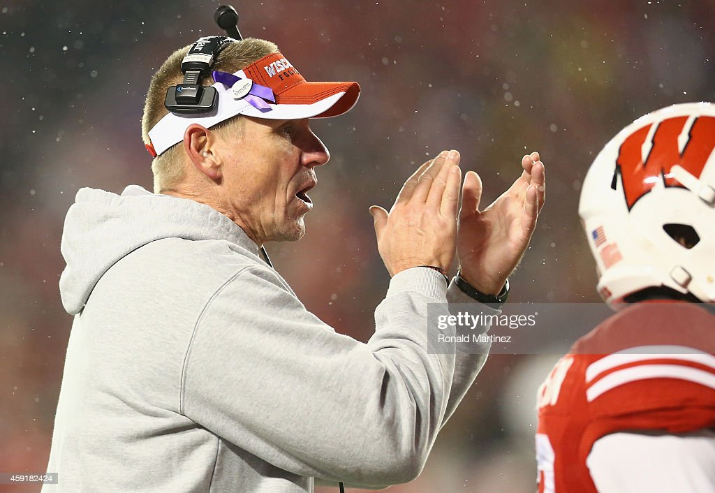 Head coach Gary Andersen of the Wisconsin Badgers at Camp Randall Stadium on November 15, 2014 in Madison, Wisconsin.