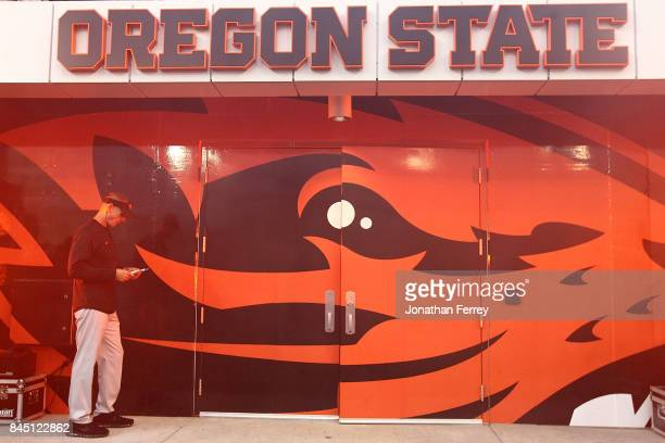 Head Coach Gary Anderson of the Oregon State Beavers hangs out before the game against the Minnesota Golden Gophers at Reser Stadium on September 9,...