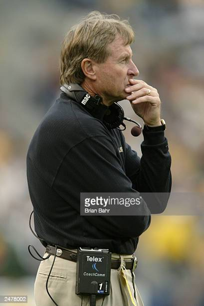 Head coach Gary Barnett of the University of Colorado Buffaloes watches the game against the Colorado State University Rams at Invesco Field at Mile...