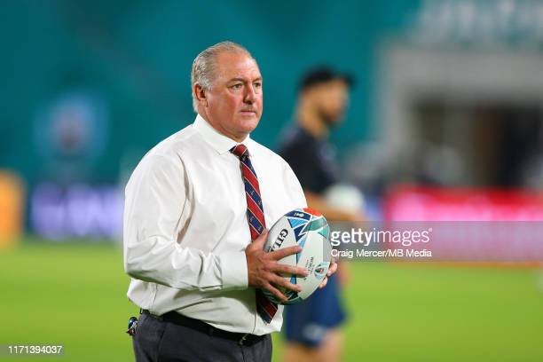 Head Coach Gary Gold during the pre match warm up ahead of the Rugby World Cup 2019 Group C game between England and USA at Kobe Misaki Stadium on...