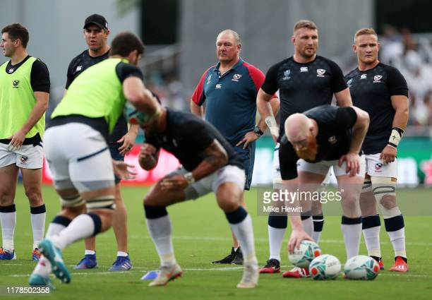 Head coach Gary Gold of the United States is seen during the warm up prior to the Rugby World Cup 2019 Group C game between France and USA at Fukuoka...