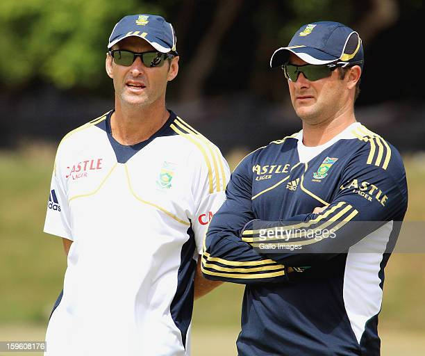 Head coach Gary Kirsten and Mark Boucher attend the South African national cricket team nets session and press conference at Claremont Cricket Club...