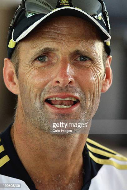 Head coach Gary Kirsten is interviewed during the South African national cricket team nets session and press conference at Claremont Cricket Club on...