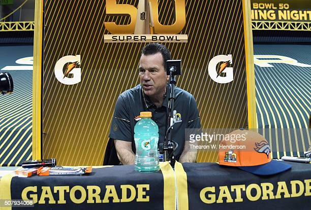 Head coach Gary Kubiak of the Denver Broncos addresses the media at Super Bowl Opening Night Fueled by Gatorade at SAP Center on February 1 2016 in...