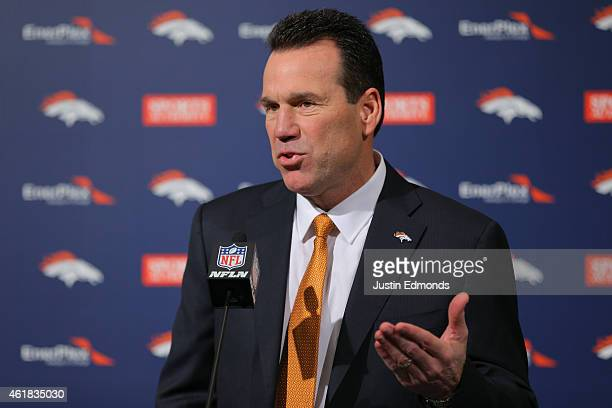 Head Coach Gary Kubiak of the Denver Broncos addresses the media during his introduction press conference at Dove Valley on January 20 2015 in...
