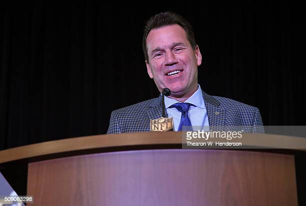 Head Coach Gary Kubiak of the Denver Broncos addresses the media during the Super Bowl 50 MVP trophy presentation at the Moscone Center West on...