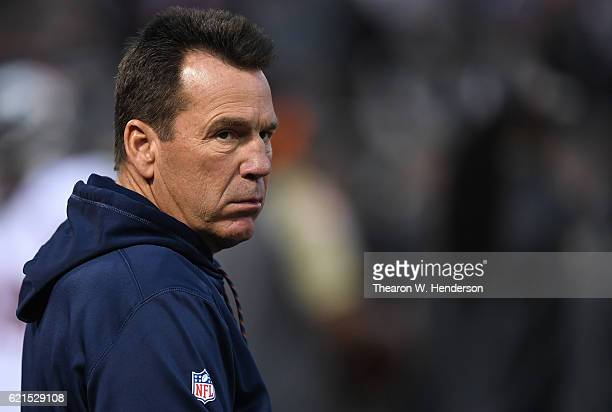 Head coach Gary Kubiak of the Denver Broncos is seen on the field prior to the game against the Oakland Raiders at OaklandAlameda County Coliseum on...