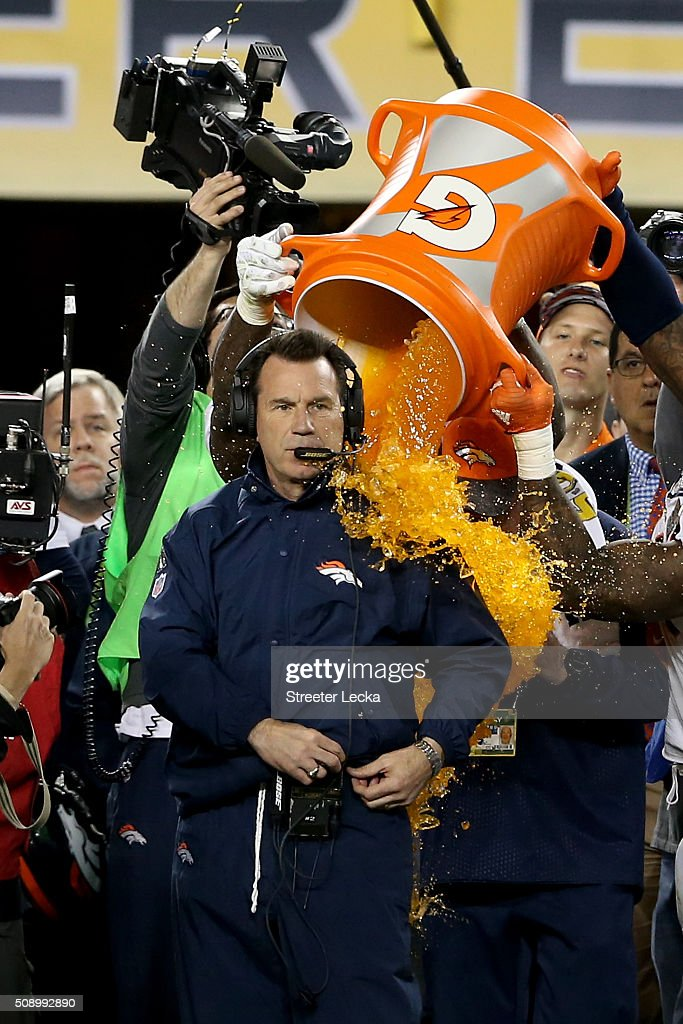 Head coach Gary Kubiak of the Denver Broncos is splashed with Gatorade in the final moments their Super Bowl 50 win at Levi's Stadium on February 7, 2016 in Santa Clara, California. The Denver Broncos defeated the Carolina Panthers 24-10.