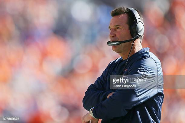 Head coach Gary Kubiak of the Denver Broncos looks on during the second quarter of the game against the Indianapolis Colts at Sports Authority Field...