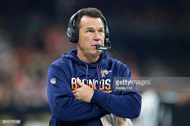 Head Coach Gary Kubiak of the Denver Broncos on the sidelines during a game against the New Orleans Saints at MercedesBenz Superdome on November 13...