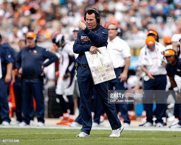 Head Coach Gary Kubiak of the Denver Broncos on the sidelines during the game against the Jacksonville Jaguars at EverBank Field on December 4 2016...