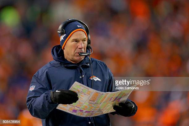 Head coach Gary Kubiak of the Denver Broncos walks along the sideline during the AFC Divisional Playoff Game against the Pittsburgh Steelers at...