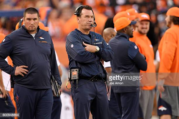Head coach Gary Kubiak of the Denver Broncos watches the action against the Carolina Panthers during the first quarter The Denver Broncos hosted the...