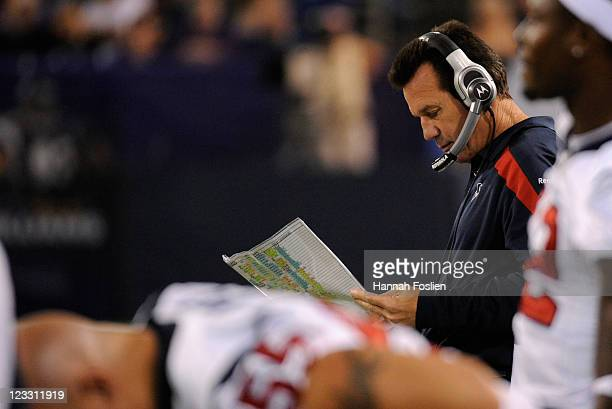 Head coach Gary Kubiak of the Houston Texans looks on in the second half against the Minnesota Vikings on September 1 2011 at Hubert H Humphrey...