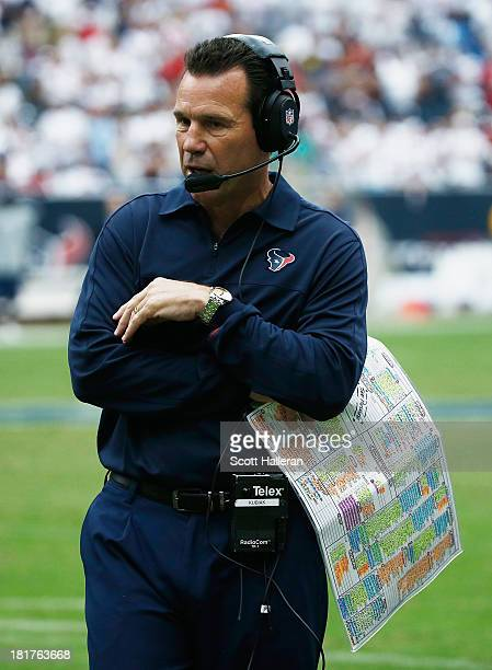 Head coach Gary Kubiak of the Houston Texans waits on the sideline in the fourth quarter of the game against the Tennessee Titans at Reliant Stadium...