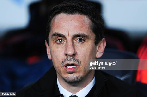 Head coach Gary Neville of Valencia CF looks on during the Copa del Rey Semi Final first leg match between FC Barcelona and Valencia at Nou Camp on...