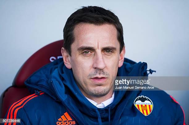 Head coach Gary Neville of Valencia CF looks on prior to the start the la Liga match between SD Eibar and Valencia CF at Ipurua Municipal Stadium on...