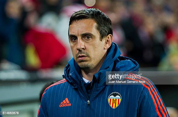 Head coach Gary Neville of Valencia CF looks on prior to the start the UEFA Europa League Round of 16 First Leg match between Athletic Club and...