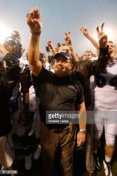 Head coach Gary Patterson of the TCU Horned Frogs celebrates after a 1410 victory over the Clemson Tigers after their game at Memorial Stadium on...