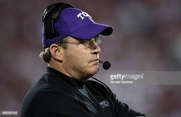 Head coach Gary Patterson of the TCU Horned Frogs during play against the Oklahoma Sooners at Oklahoma Memorial Stadium on September 27, 2008 in...