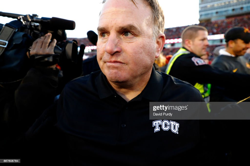 head coach Gary Patterson of the TCU Horned Frogs turns away after shaking hands with head coach Matt Campbell of the Iowa State Cyclones, right, after losing 14-7 to the Iowa State Cyclones at Jack Trice Stadium on October 28, 2017 in Ames, Iowa. The Iowa State Cyclones won 14-7 over the TCU Horned Frogs.