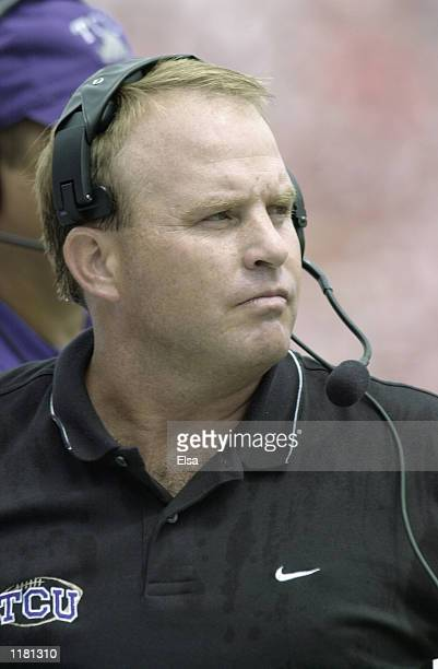 Head coach Gary Patterson of the Texas Christian University Horned Frogs stands on the sideline during the NCAA football game against the Nebraska...